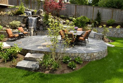 Great Backyard Patios by Waterfall Levels Great Patios Courtyards And Outdoor