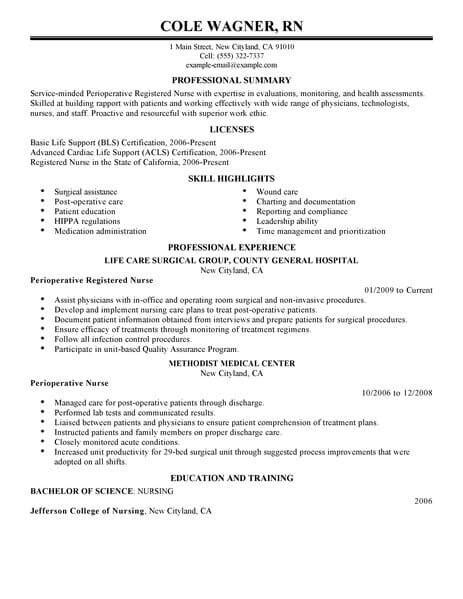 Registered Professional Summary by Best Perioperative Resume Exle Livecareer