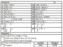 20 worksheets with 100s of qs for year 5 6 maths sats revision arithmetic and reasoning by