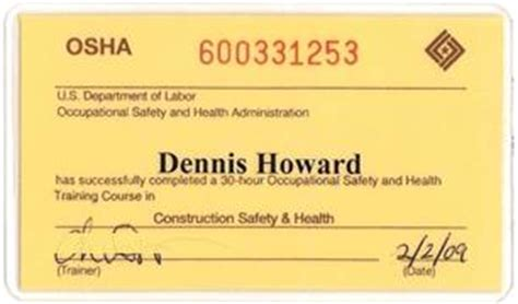 Osha 10 Card Template by Certifications Batzer Construction Inc