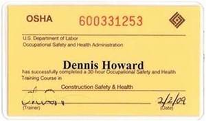certifications training batzer construction inc With osha 10 card template