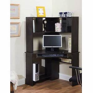 Morgan Corner Computer Desk and Hutch, Black Oak - Walmart com