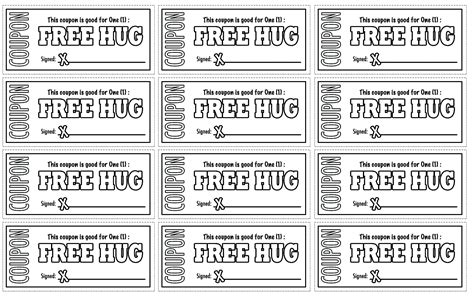 printable  hug coupons coloring pages  coloring