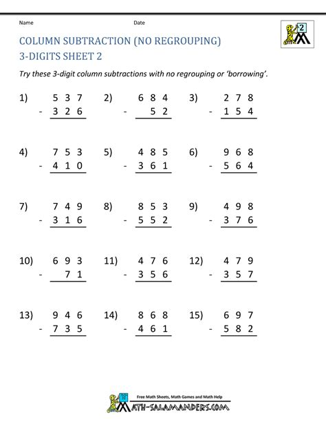 2nd grade math worksheet subtraction with borrowing 3 digit subtraction worksheets