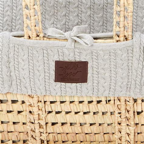 moses basket  organic mattress knitted dove grey