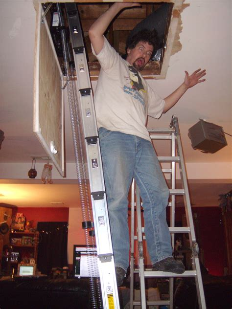 attic ladder installation double ladder
