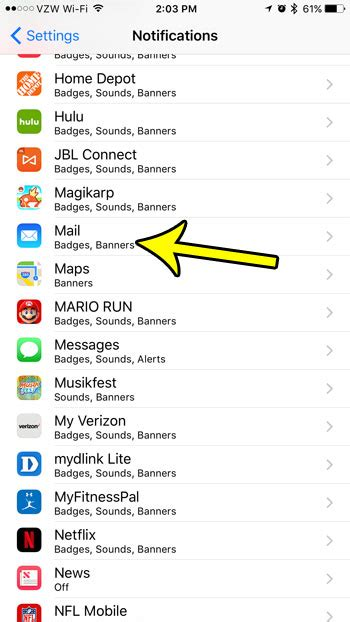 iphone mail notifications how to turn notifications for one email account on
