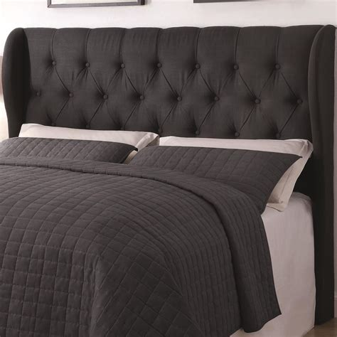 King Upholstery by Murrieta Charcoal Upholstered King Tufted Headboard From