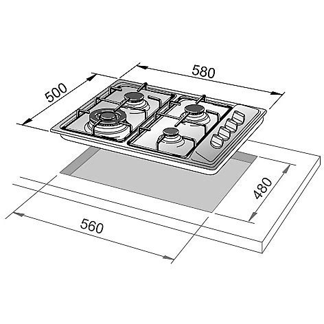Dimensioni Piano Cottura 4 Fuochi by Il 46asv De Longhi Piano Cottura 58x50 4 Fuochi A Gas Inox