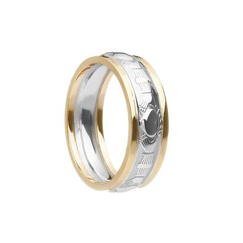 ladies court shaped claddagh wedding ring with trims