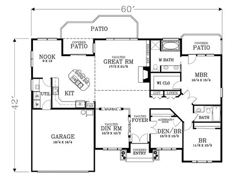 House Plan 44642 Ranch Style with 1779 Sq Ft 3 Bed 2 Bath