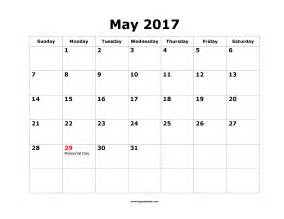 May 2017 Calendar Printable Template