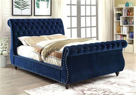noella cmnv luxury bed  navy fabric upholstery