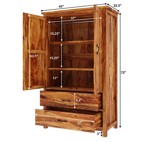Wardrobe With Shelves by Healdsburg Rustic Solid Wood Large Wardrobe Armoire W