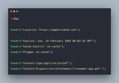 php header function  header method tutorial
