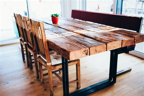 Tisch Aus Altem Holz by Tisch Esstisch Mit Flachstahl Beinen Und Alten