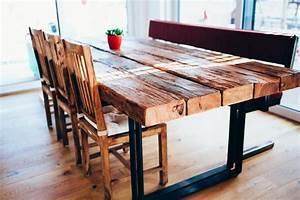 Tisch Aus Holz : tisch esstisch mit flachstahl beinen und alten holzbalken feinrost ~ Watch28wear.com Haus und Dekorationen