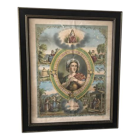 1872 Antique Rebekah Odd Fellows Lithograph | Chairish