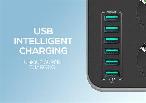 ldnio 6 port desktop charger 5 4a ldnio 5v 3 4a desktop 3 power socket 6 usb port 5 24ft 1