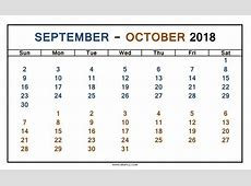 October 2018 Calendar PDF yearly printable calendar