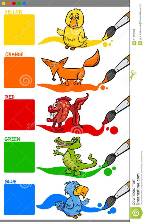 primary colors  animals stock vector image