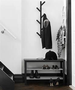 Petit Banc D Entrée : petit hall d 39 entr e avec pat re en forme d 39 arbre et banc avec rangement chaussures en noir ~ Teatrodelosmanantiales.com Idées de Décoration