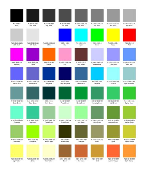 color names colors