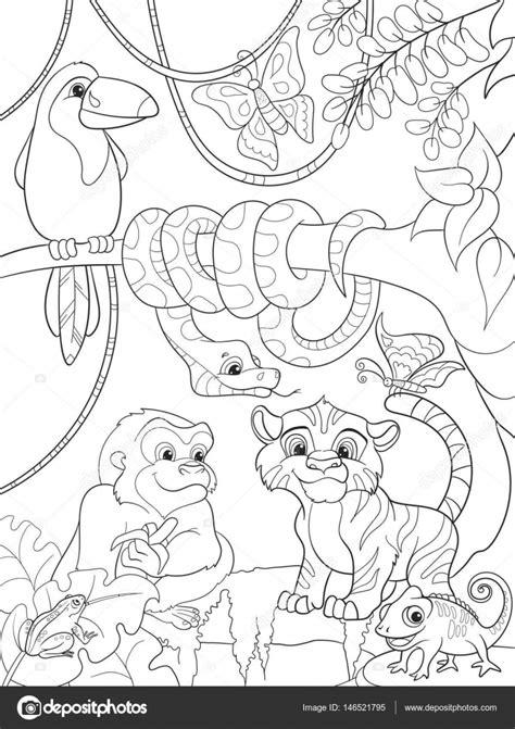 bosque de la selva  animales de dibujos animados vector
