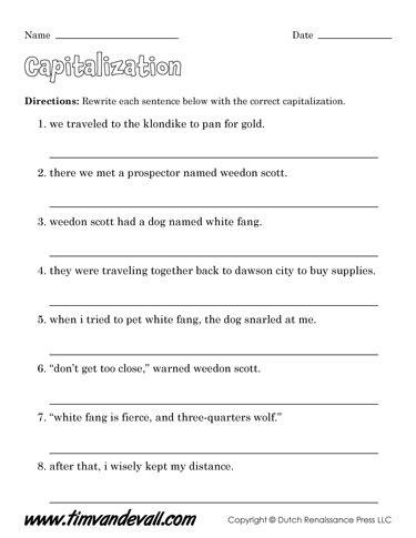 free capitalization worksheets for kids language arts pdf