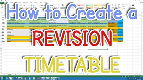 How To Create A Revision Timetable, Study Timetable Youtube