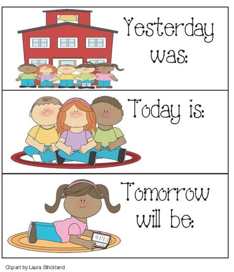Calendar Cards For Yesterday, Today And Tomorrow  Charts, Classroom And Patterns