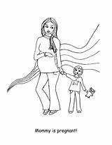 Coloring Pregnancy Pregnant Tales Looks Happy sketch template