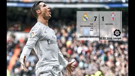 Real Madrid 7-1 Celta (La Liga 2015/16, matchday 28) - YouTube