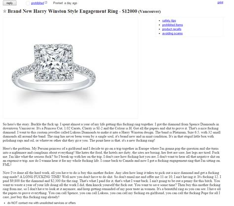 12 000 engagement ring for sale in vancouver craigslist