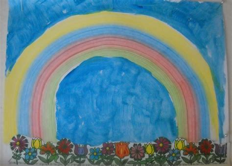 rainbow sponge painting  flower borders kraftykid