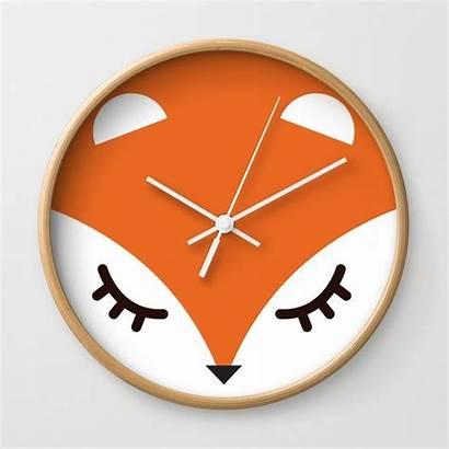 Clock Fox Society6 Minimal Clocks Face