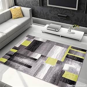 Tapis De Salon Moderne : tapis de salon moderne couleur gris vert motif g om trique carreaux doux facile d ~ Teatrodelosmanantiales.com Idées de Décoration