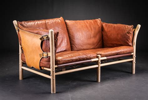 arne norell  seater leather ilona sofa vampt vintage design