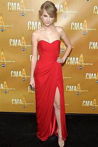 Taylor Swift Prom Dress Cma Red Carpet Strapless