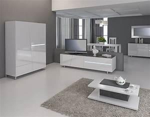 Meuble Tv Design Blanc Laqué : meuble tv blanc laqu avec clairage led int gr design joshua ~ Teatrodelosmanantiales.com Idées de Décoration