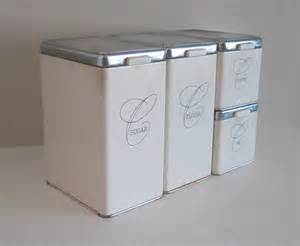 kitchen canister sets ceramic 1950s ransburg white metal canister set mid century kitchen