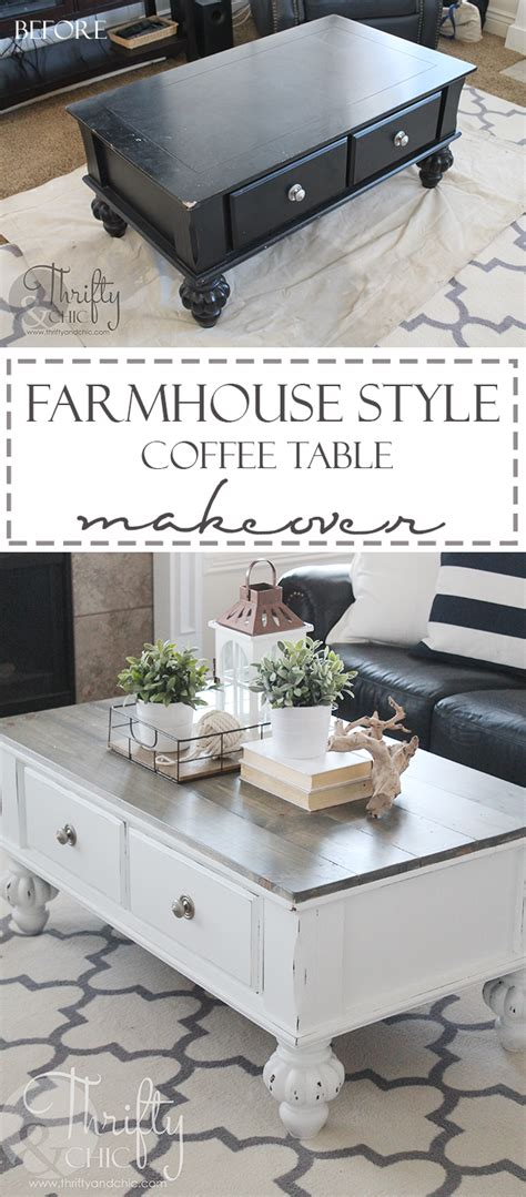 Farmhouse Style Coffee Table Makeover {before And After