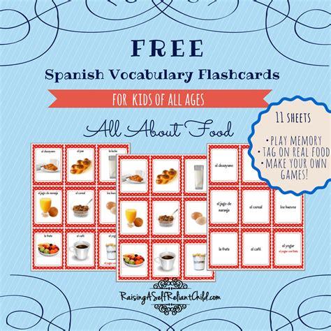 printable spanish vocabulary flashcards common foods