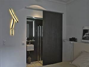 amenagement paris appartement haussmanien With porte de douche coulissante avec lumiere salle de bain led