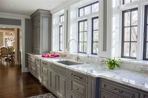 stacked kitchen backsplash gray raised panel kitchen cabinets design ideas