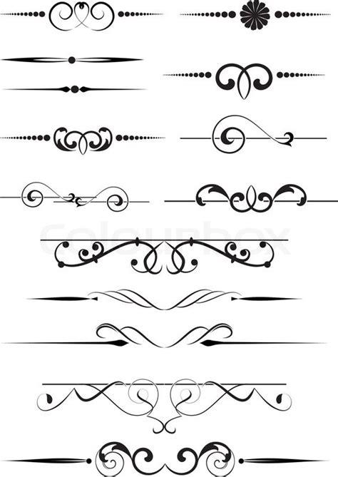 set  dividers ornamental rule lines stock vector