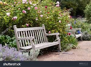 Rose Garden Park Empty Wooden Bench Stock Photo 86272144 ...