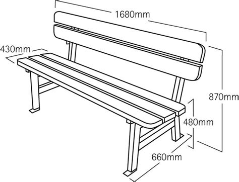 standard bench height brecon big bench height length seat homes alternative