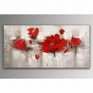 Tableau Fleurs Moderne : coquelicots rouges tableau floral modern peint la main ~ Teatrodelosmanantiales.com Idées de Décoration