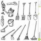 Gardening Tools Drawing Doodles Outils Tool Jardinage Griffonnages Hoe Sketches Tuinieren Strumenti Mattock Giardinaggio Degli Draw Farm Drawings Sketch Illustrazione sketch template